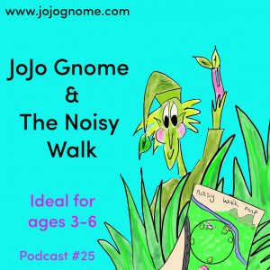 Advert for JoJo Gnome's podcast number 25. Show JoJo Gnome holding the sound machine.