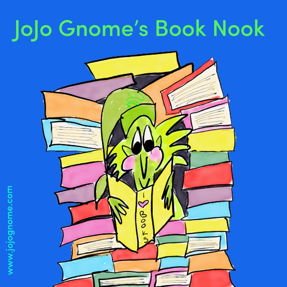 JoJo Gnome sitting in his book nook